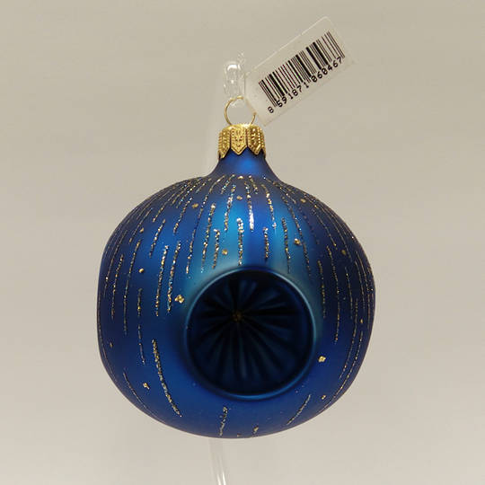 Glass Ball with 4 Reflectors. Matt Metallic Blue with Blue & Gold Stripes 8cm