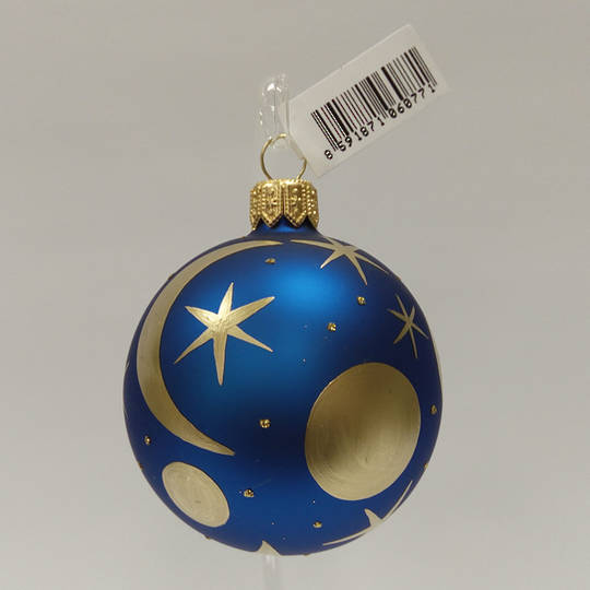 Glass Ball Matt Metallic Blue with Matt Gold Moons And Stars 6cm