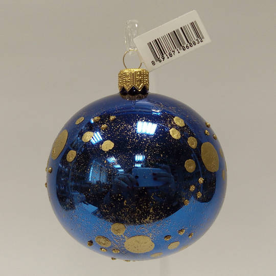 Glass Ball Metallic Blue with Matt Gold Dots and Gold Decor 8cm