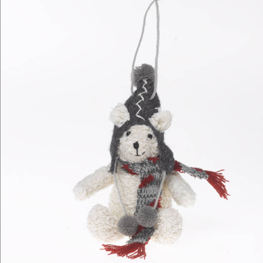 Plush Winter Bear with Scarf and Hat. 17cm