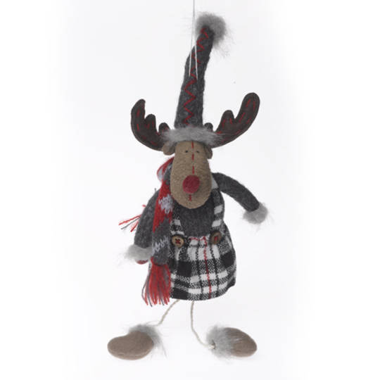 Plush Reindeer Dk. Grey Jumper , Grey & Red Hat and Scarf 23cm