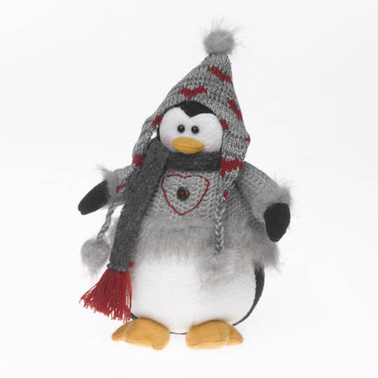 Plush Penguin with Grey Jumper and Grey& Red Hat and Scarf 24cm