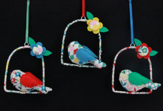 Fabric Hanging Bird on Swing 7cm, each