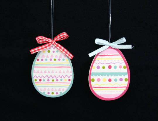 Wood Painted Egg Hanging Decoration 7cm