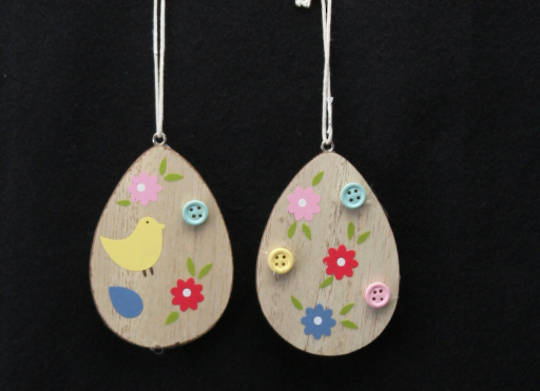 Wood with Buttons Egg Hanging Decoration 8cm