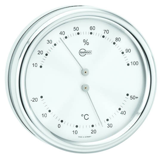 BM Marine Orion Thermometer & Hygrometer, Silver Face