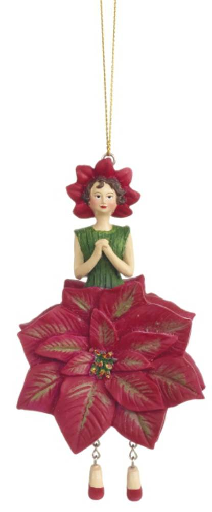 Hanging Flower Girl Poinsettia Red 12cm