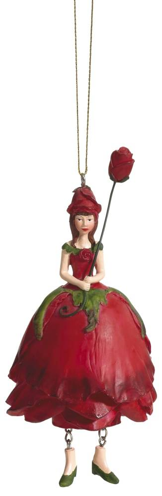 Hanging Flower Girl Rose Red 12cm