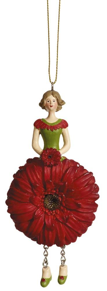 Hanging Flower Girl Gerbera Red 12cm