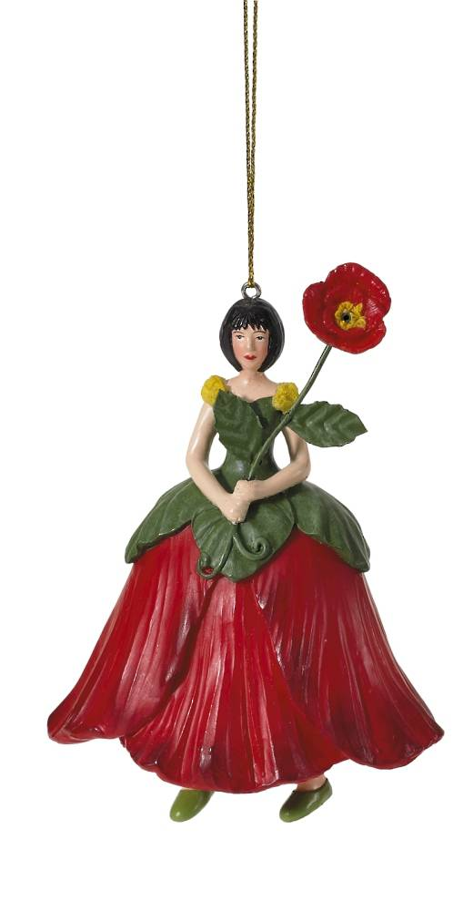 Hanging Flower Girl Poppy Red 11cm
