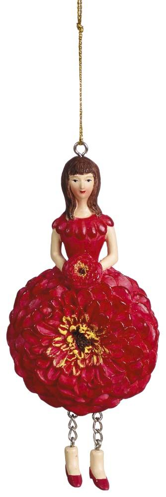 Hanging Flower Girl Zinnia Red 12cm