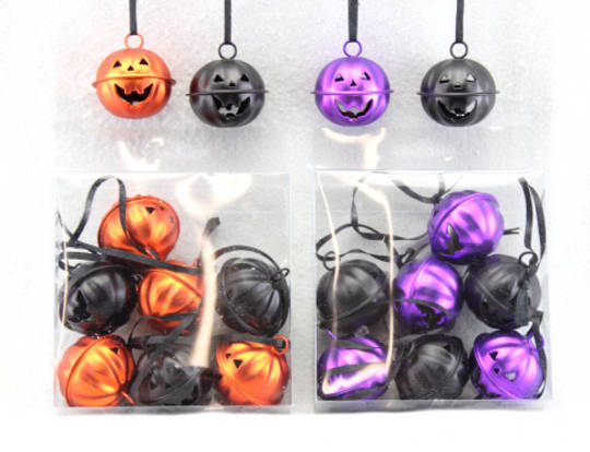 Mini Metal Pumpkin Bells Pack of 9