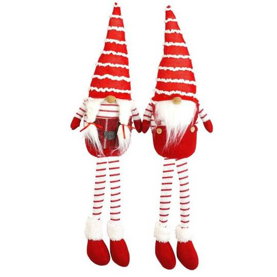 Plush Sitting Santa Long Legs with Stripe Hat and Legs