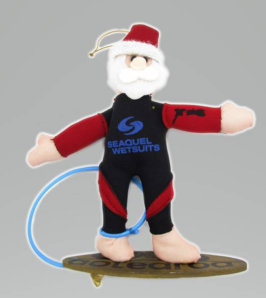 Iconic Hanging Fabric Surfer Santa