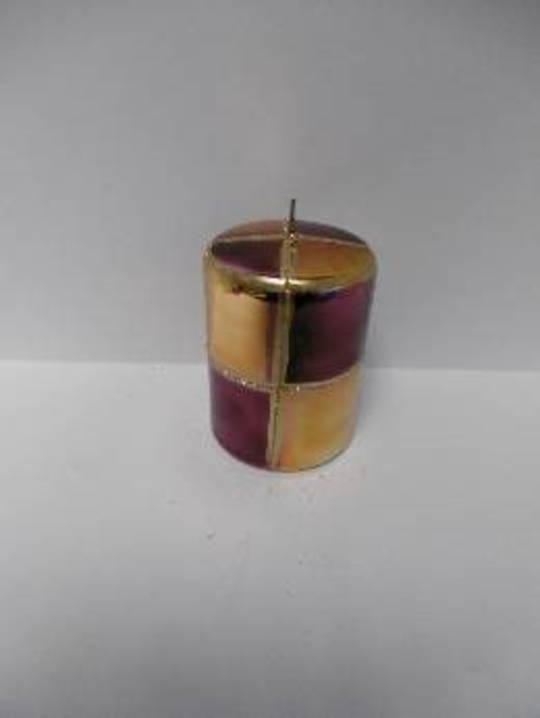 Pillar Candle 100x70mm Metallic Old Gold/ Purple and Matt Gold & Glitter