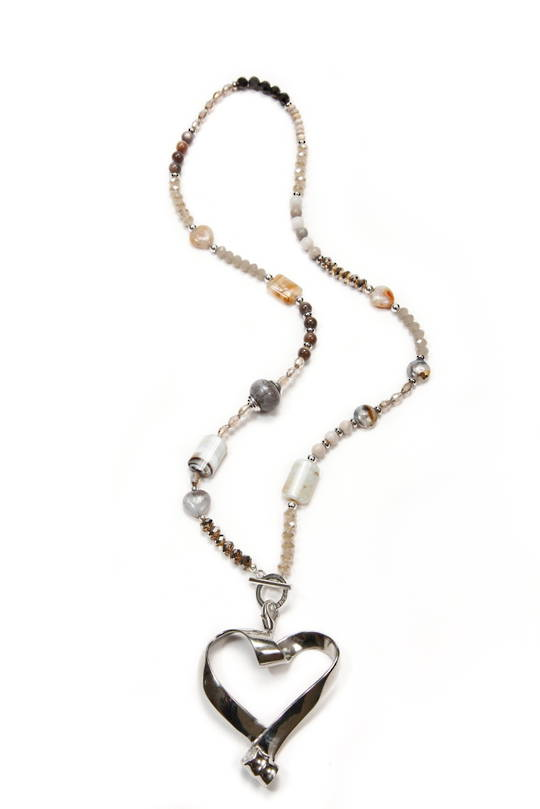 Necklace, Natural Agate Colours with Giant Silver Heart Pendant