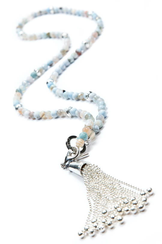 Necklace, Duckegg Agate with Silver Spacers & Tassel