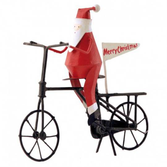 Tin Santa on Bicycle