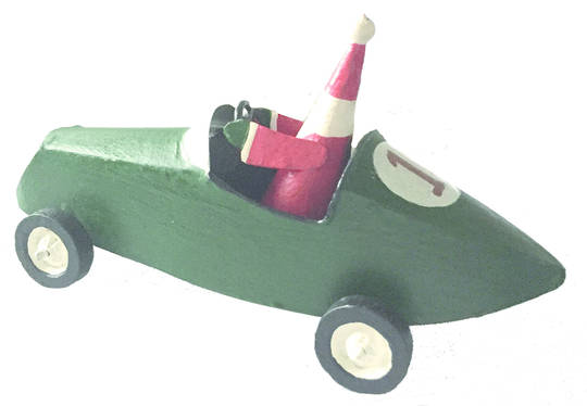Santa in Green Racing Car