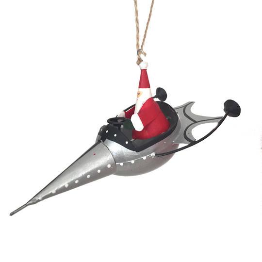 Santa in Silver Rocket