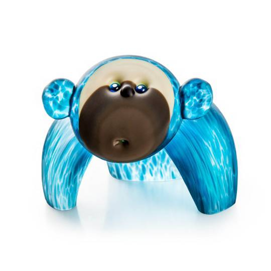 Artglass Monkey Object Small Blue