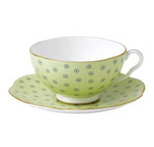 Wedgwood Polka Dot Cup and Saucer, Green