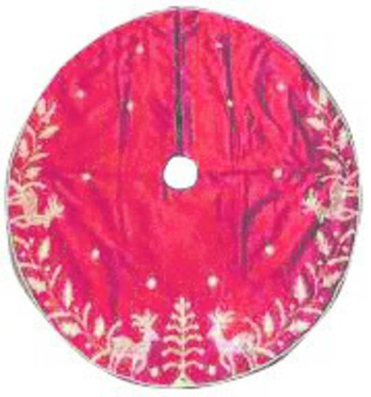 Xmas Tree Skirt, Silky Red with Gold Sequins