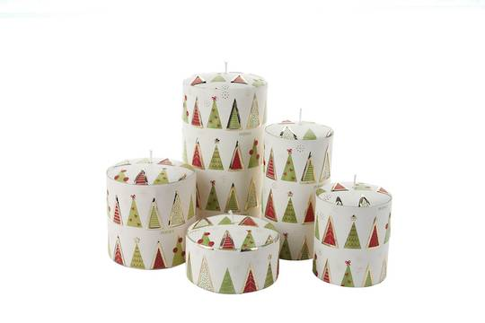 Christmas Tree Candle Lime Green & Red