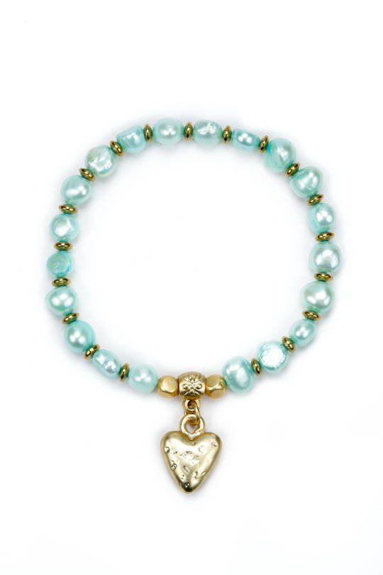 Bracelet, Turquoise Pearl w/ Speckled Heart
