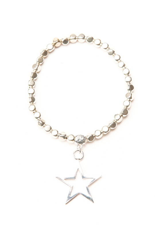 Bracelet, Silver Beads with Star Charm