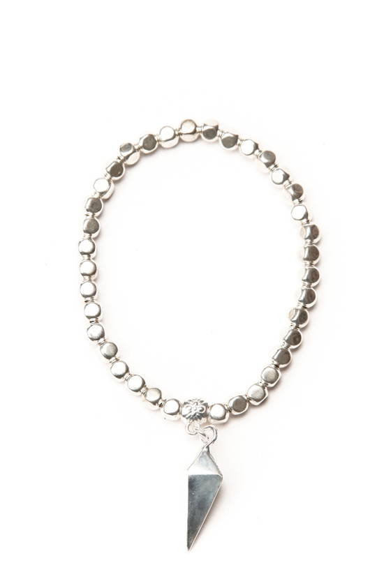 Bracelet, Silver Beads with Pend Charm