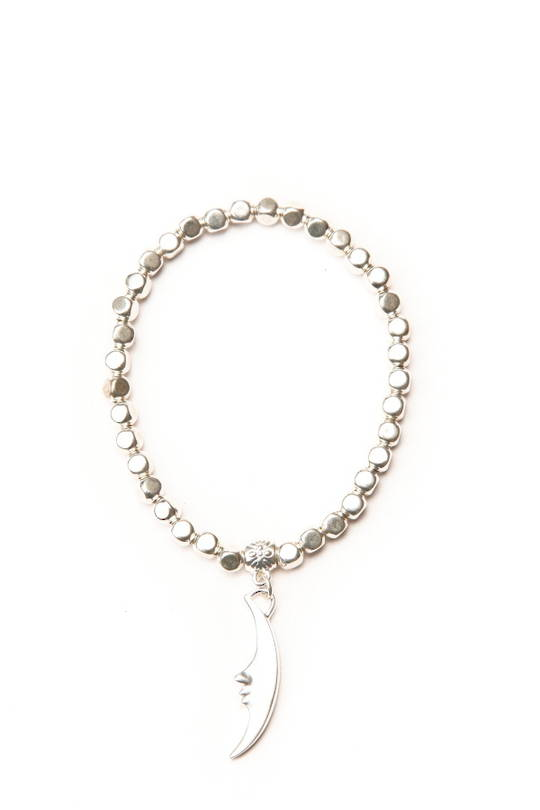 Bracelet, Silver Beads with Cresent Moon Charm