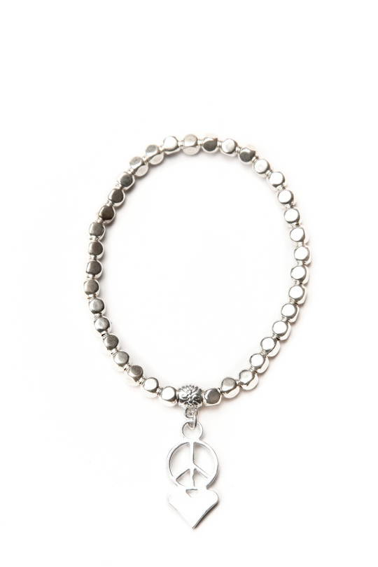Bracelet, Silver Beads with Peace Love Charm