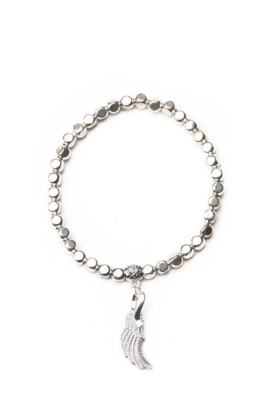 Bracelet, Silver Beads with Angel Wing Charm