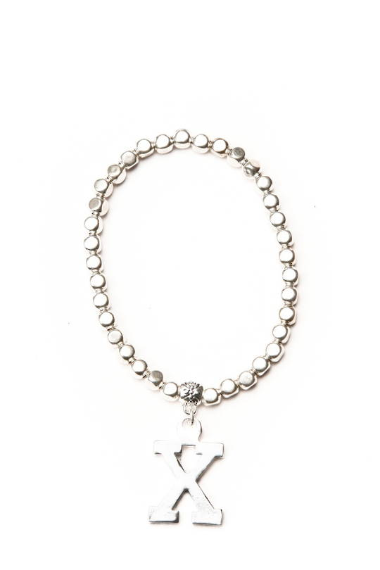 Bracelet, Silver Beads with Kiss Charm