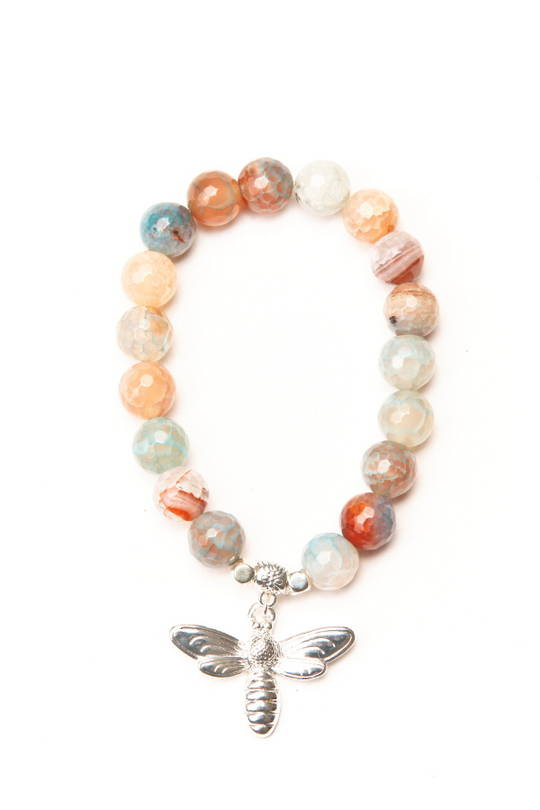 Bracelet, Natural Multi Pastel Agate with Charm