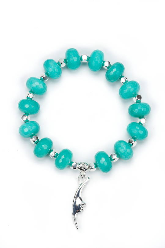 Bracelet, Chunky Teal Jade with Silver Beads and Charm