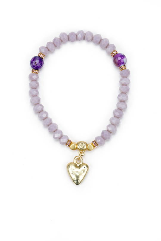 Bracelet, Dyed Lilac Quartz with Speckled Heart