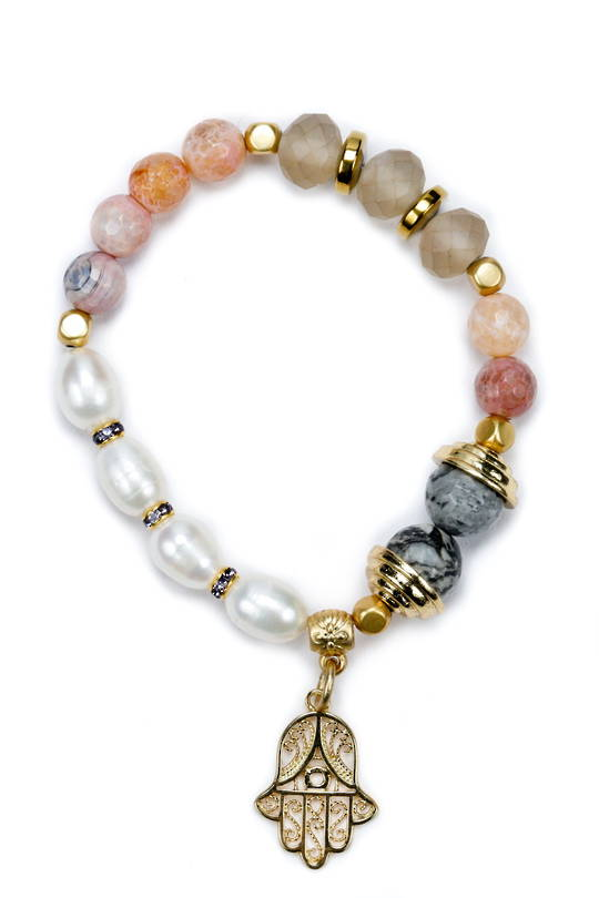 Bracelet, Natural Agate, Quartz and Fresh Water Pearl with Charm