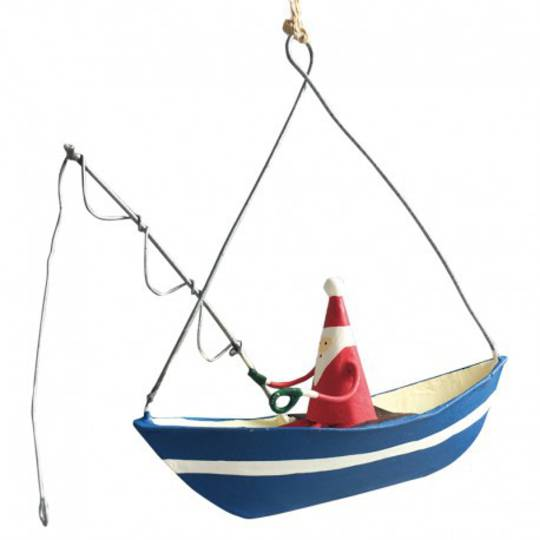 Tin Santa Fishing on Boat