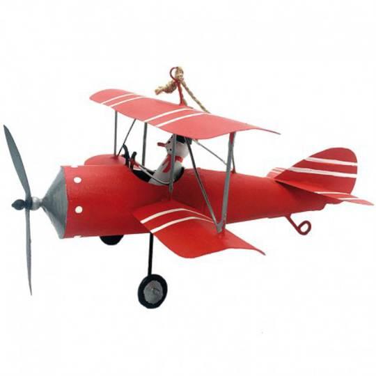 Tin Snowman in Red Bi-Wing Plane