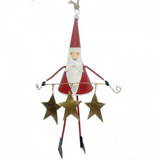 Tin Santa with Star Garland