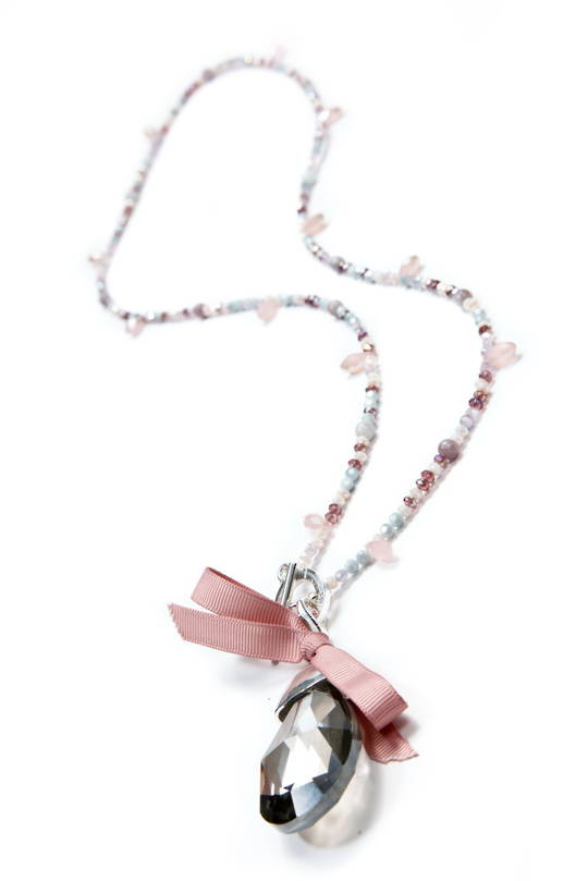 Necklace, Light Pink Quartz  with Smokey Crystal Drop