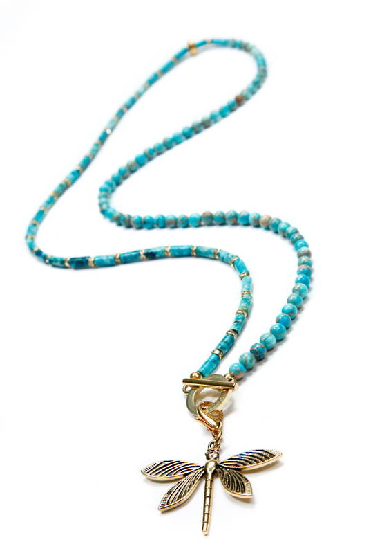 Necklace, Turquiose Howlite Bead and Tube with Dragonfly