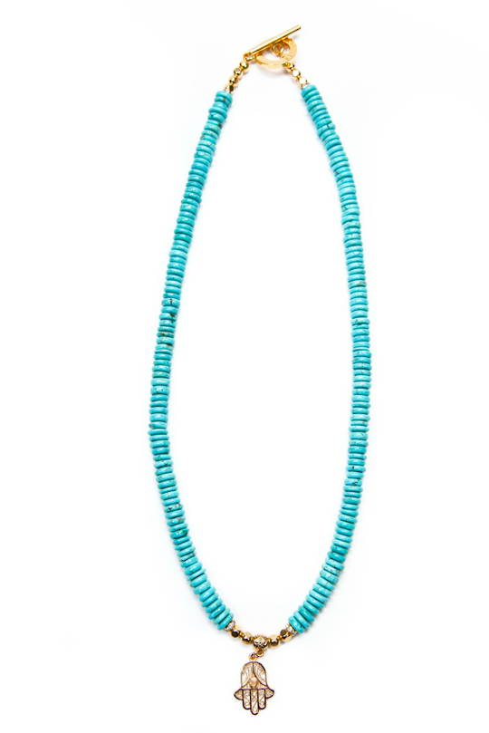 Necklace, Turquoise Howlite Disc Beads w/Charm