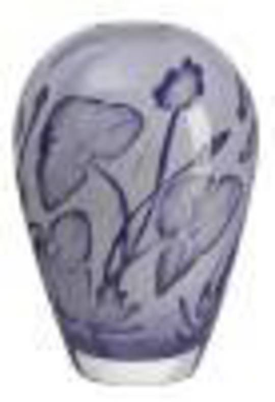 ArtGlass Floating Flowers Indigo Vase